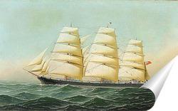 Постер Британский корабль Лаомин в море под всеми парусами