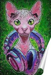 Постер Кот в наушниках