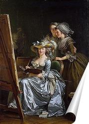 Постер Автопортрет с двумя учениками, Мари Габриэль Капет и Мари Маргер