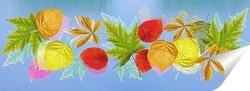 Постер  Осенние листья на стекле