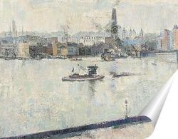 Постер Темза на мосту Баттерси, Лондон, 1918