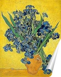 Постер Ваза с ирисами на жёлтом фоне