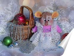 Постер Новогодняя композиция с крыской Лариской и елочками игрушками