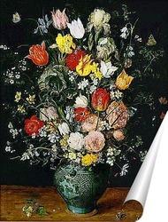 Постер Букет цветов в голубой вазе