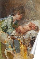 Постер Мать и ребенок с собакой