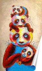 Постер Семья панды