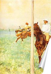 Постер Жокеи перед стартом у флагштока