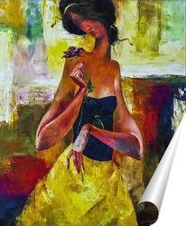 Постер Девушка с цветком