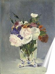 Постер Цветы в хрустальной вазе
