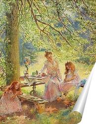 Постер Портрет жены художника и их дочек Ольги и Марины