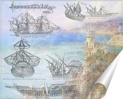 Постер Чертежи кораблей