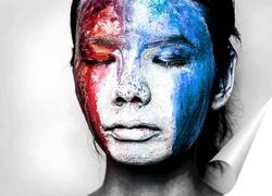 Постер Девушка с цветным лицом