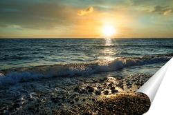 Постер Закат над морским пейзажем