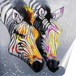 Постер Цветные зебры