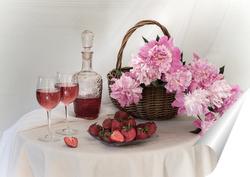 Постер С розовыми пионами