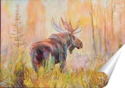 Постер Лось и золотая осень.
