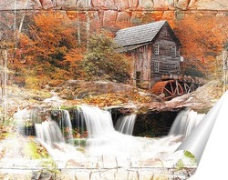 Постер Домик у водопада