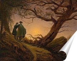 Постер Двое мужчин рассматривают луну