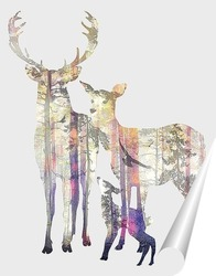 Постер Лесные олени