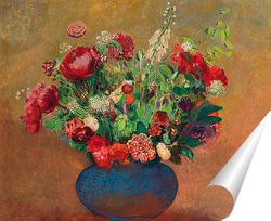 Постер Маки и гвоздики в синей вазе