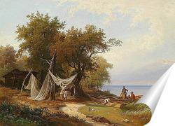Постер Семья Рыбака на Берегу Женевского Озера