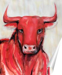 Постер Красный бык