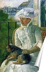 Постер Сьюзен с собакой на балконе,1882г.