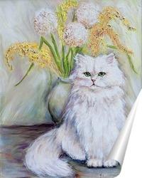 Постер Белый пушистый кот на фоне букета