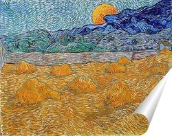 Постер Вечерний пейзаж с восходящей луной