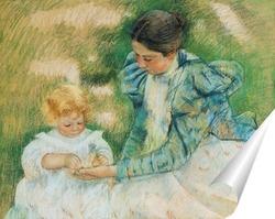 Постер Мама играющая со своим ребенком, 1897