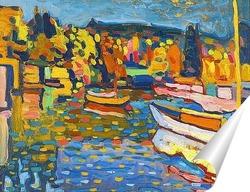 Постер Осенний пейзаж с лодками