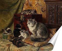 Постер Кошка и котята играют