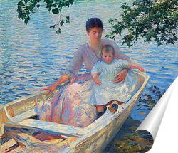 Постер Мать и ребенок в лодке