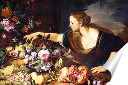 Постер Женщина собирает цветы