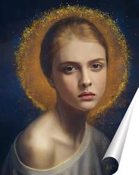 Постер портрет с золотом