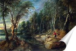 Постер Пастырь с паствой в древесном пейзаже