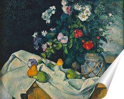 Постер Натюрморт с цветами и фруктами