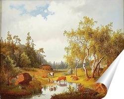 Постер Пейзаж с коровами