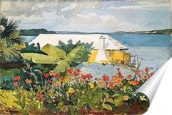 Постер Цветочный сад и коттедж.Бермуды