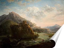 Постер Горный пейзаж с замком и фигурами рядом с рекой
