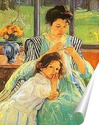 Постер Молодая мать за шитьём,1902г.