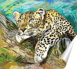 Постер Леопард на дереве