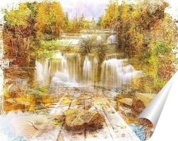 Постер Мостик у водопада