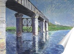 Постер Сены и железнодорожный мост в Аржентее