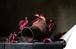 Постер Натюрморт с кувшином и диким виноградом