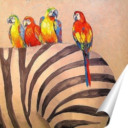 Постер Попугаи на зебре