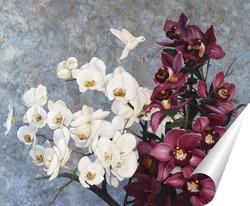 Постер Орхидеи и колибри