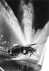 Постер Автомобиль врезавшийся в пожарный гидрант.