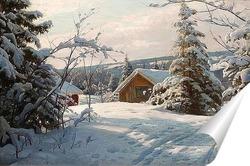 Постер Солнечный зимний пейзаж