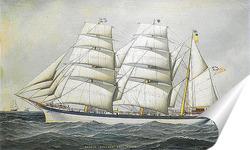 Постер Британский корабль в море под всеми парусами